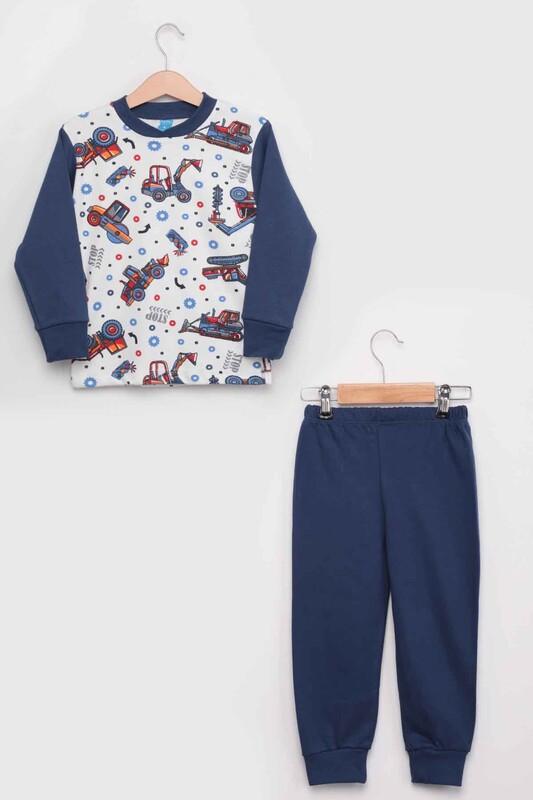 SİMİSSO - Gupse İş Makinesi Baskılı Uzun Kol Erkek Çocuk Pijama Takım | Lacivert
