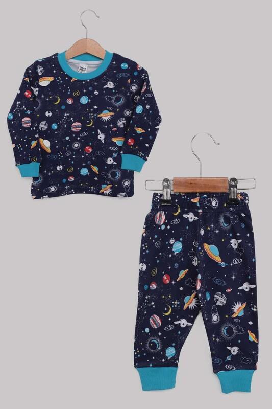 SİMİSSO - Uzay Desenli Erkek Çocuk Pijama Takımı   Lacivert