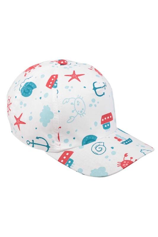 SİMİSSO - Yengeç Desenli Erkek Çocuk Şapka Beyaz