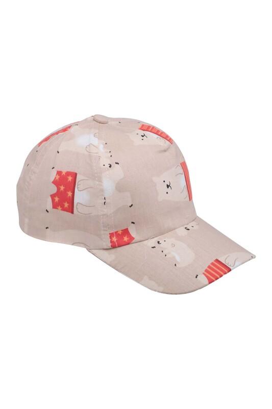 SİMİSSO - Ayıcık Desenli Erkek Çocuk Şapka Bej