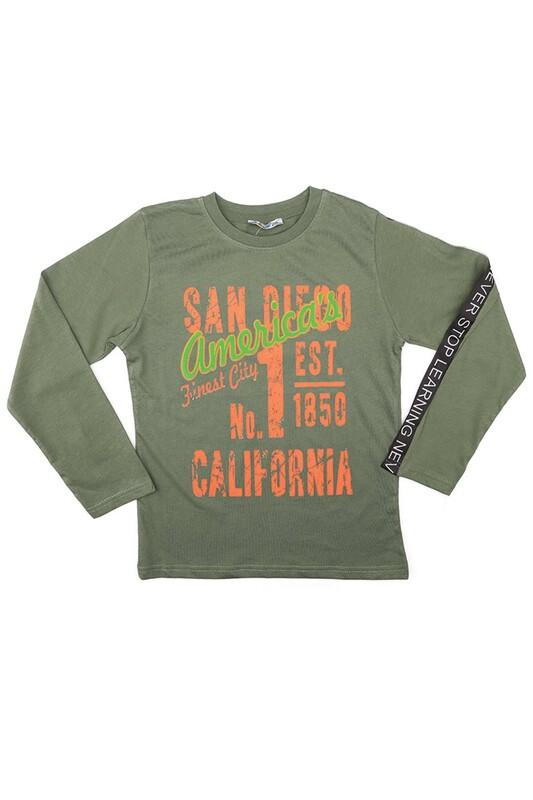 ALG - Yuvarlak Yaka Uzun Kol Erkek Çocuk Sweat 320770 | Yeşil