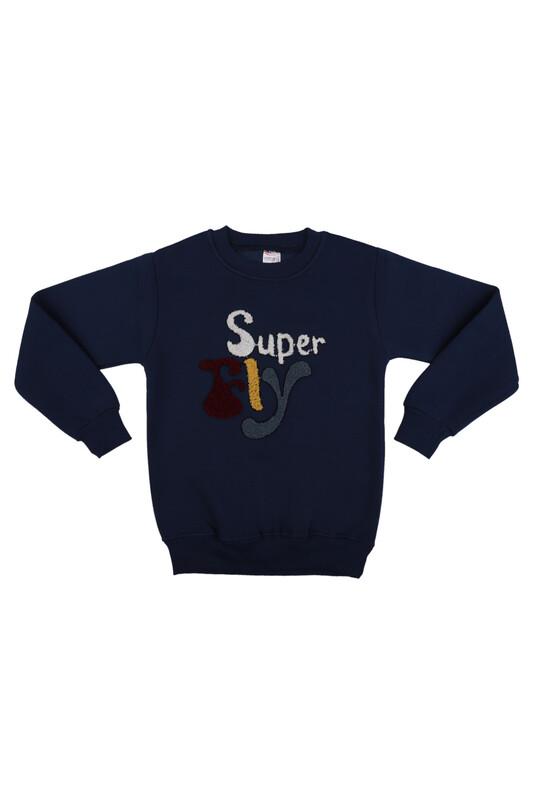 SİMİSSO - Super Nakışlı Şardonlu Erkek Çocuk Sweat | Mavi