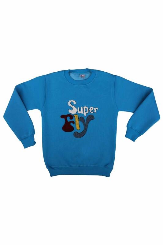 SİMİSSO - Super Nakışlı Şardonlu Erkek Çocuk Sweat | Turkuaz