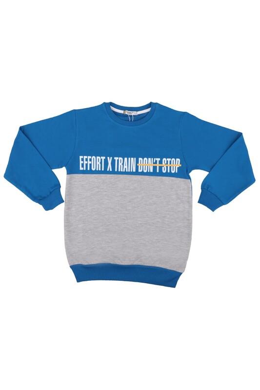 Tanem - Yazı Baskılı Erkek Çocuk Sweatshirt | Mavi
