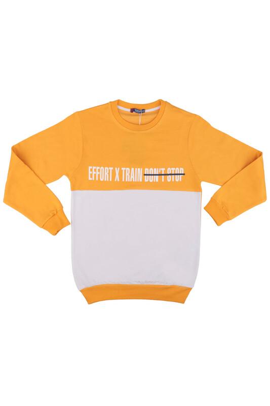 Tanem - Yazı Baskılı Erkek Çocuk Sweatshirt | Sarı