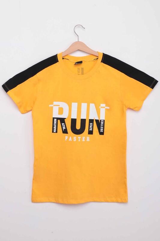 ALG - Yazı Baskılı Erkek Çocuk Tshirt   Sarı