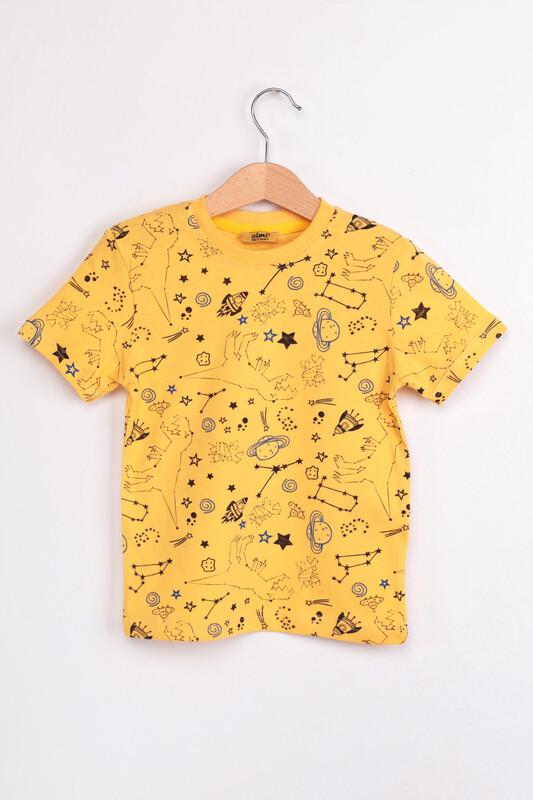 ALMİ - Çocuk Dinazor Metraj Baskılı Tshirt | Sarı