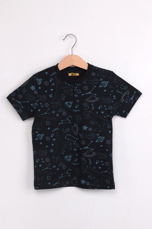 ALMİ - Çocuk Dinazor Metraj Baskılı Tshirt | Siyah