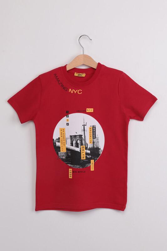 ALMİ - Garson Amazing NYC Baskılı Çocuk Tshirt | Kırmızı