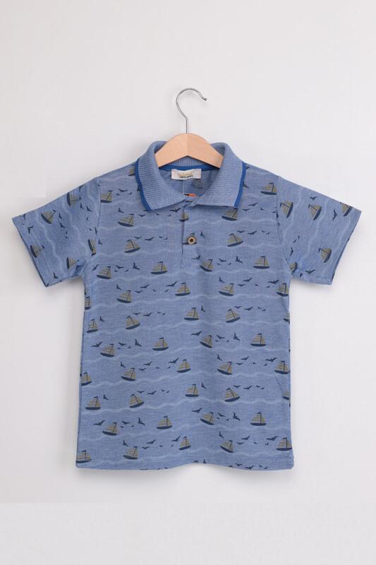 ALMİ - Garson Yelken Baskılı Kısa Kol Çocuk Tshirt | Mavi