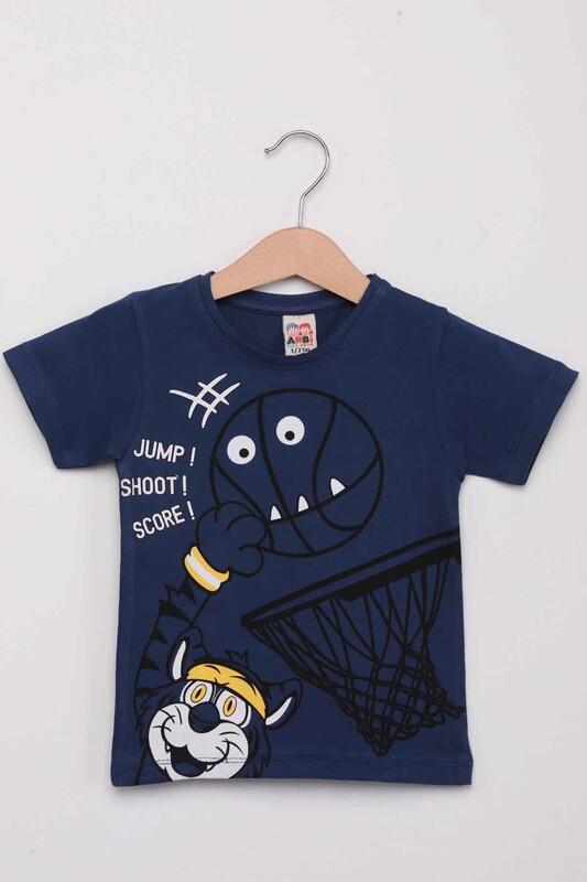 ARBİ - Basketbol Baskılı Erkek Çocuk Tshirt | Lacivert