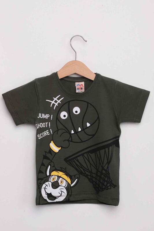 ARBİ - Basketbol Baskılı Erkek Çocuk Tshirt   Haki