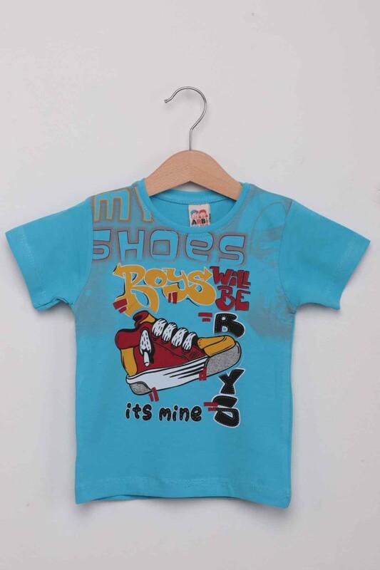 ARBİ - Ayakkabı Baskılı Erkek Çocuk Tshirt   Mavi