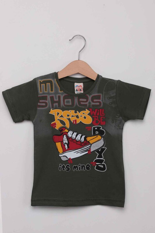 ARBİ - Ayakkabı Baskılı Erkek Çocuk Tshirt | Haki