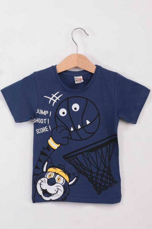 ARBİ - Basketbol Baskılı Erkek Çocuk Tshirt   İndigo
