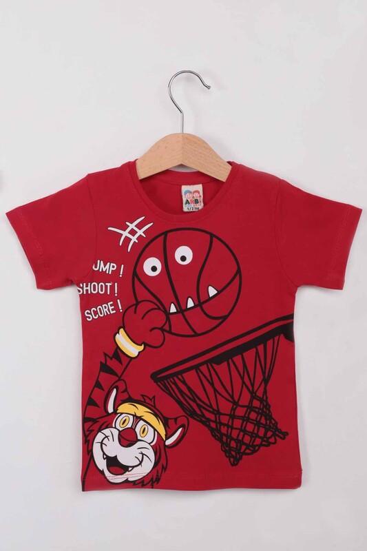 ARBİ - Basketbol Baskılı Erkek Çocuk Tshirt   Kırmızı