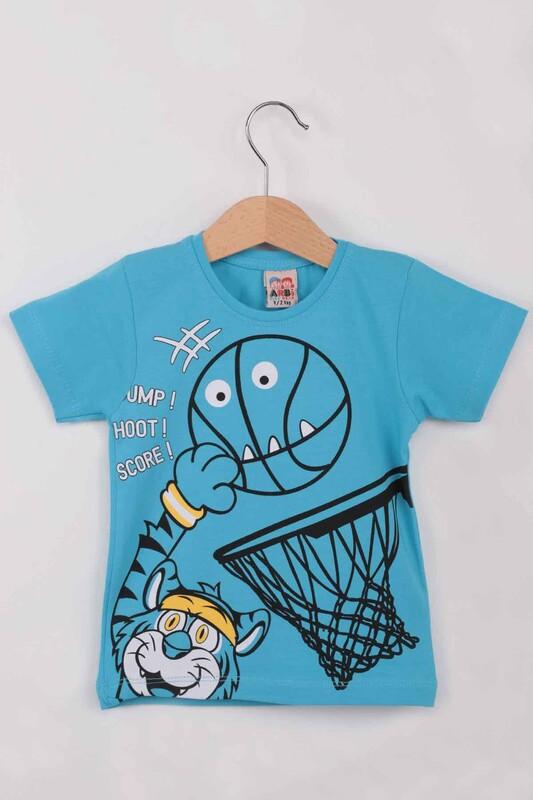 ARBİ - Basketbol Baskılı Erkek Çocuk Tshirt   Mavi