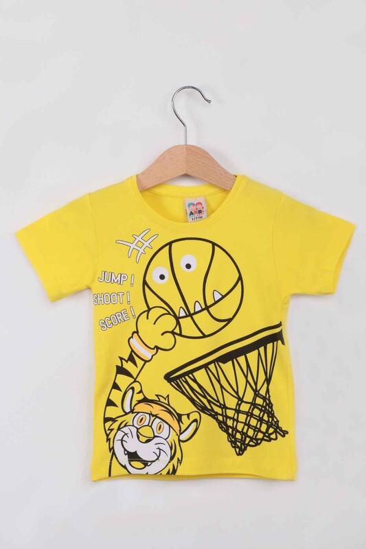 ARBİ - Basketbol Baskılı Erkek Çocuk Tshirt   Sarı