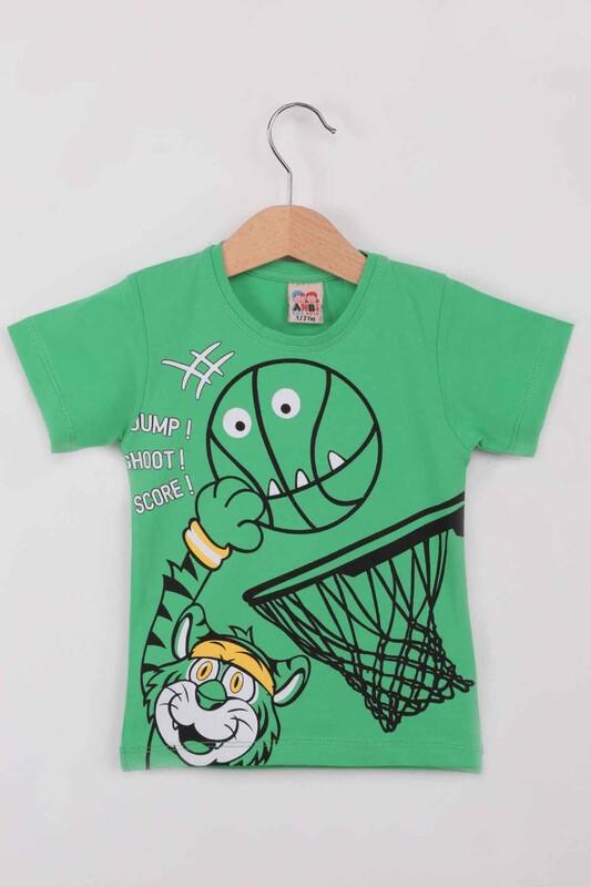 ARBİ - Basketbol Baskılı Erkek Çocuk Tshirt   Yeşil