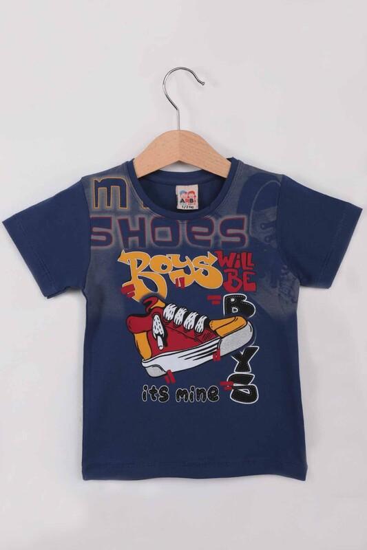 ARBİ - Ayakkabı Baskılı Erkek Çocuk Tshirt   İndigo