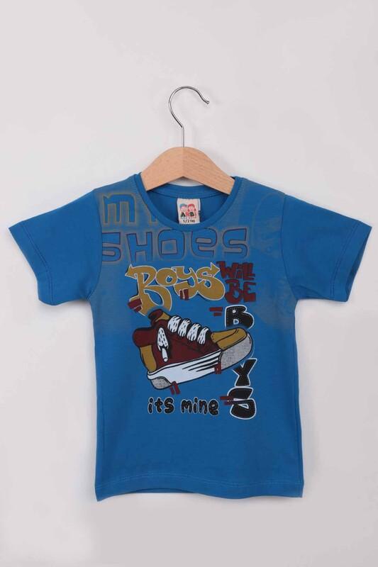 ARBİ - Ayakkabı Baskılı Erkek Çocuk Tshirt   Saks