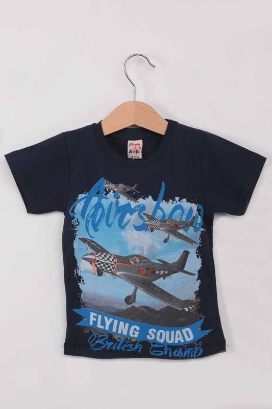 ARBİ - Airplane Baskılı Erkek Çocuk Tshirt   Lacivert