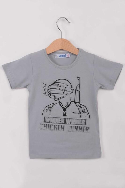 ARBİ - Kabartmalı Erkek Çocuk Tshirt | Gri