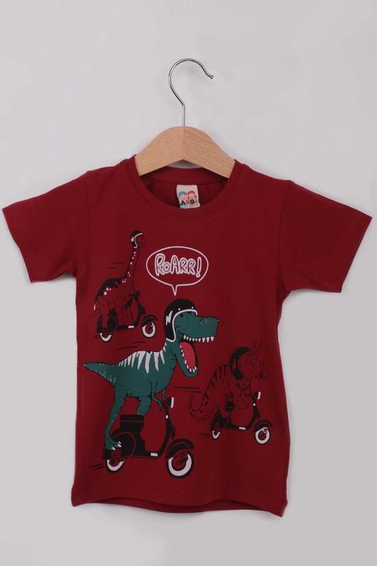 ARBİ - Baskılı Erkek Çocuk Tshirt 5588   Bordo