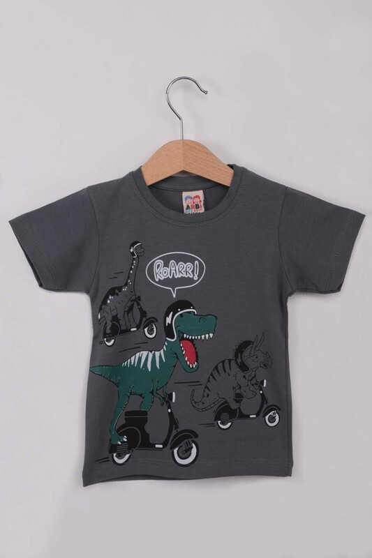 ARBİ - Baskılı Erkek Çocuk Tshirt 5588   Koyu Gri
