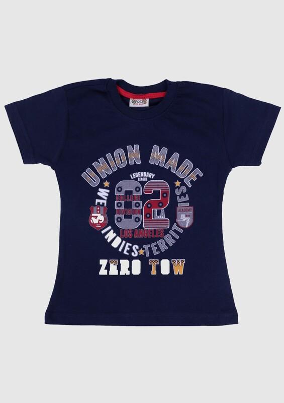 SİMİSSO - Baskılı Kısa Kollu Erkek Çocuk T-shirt   Lacivert