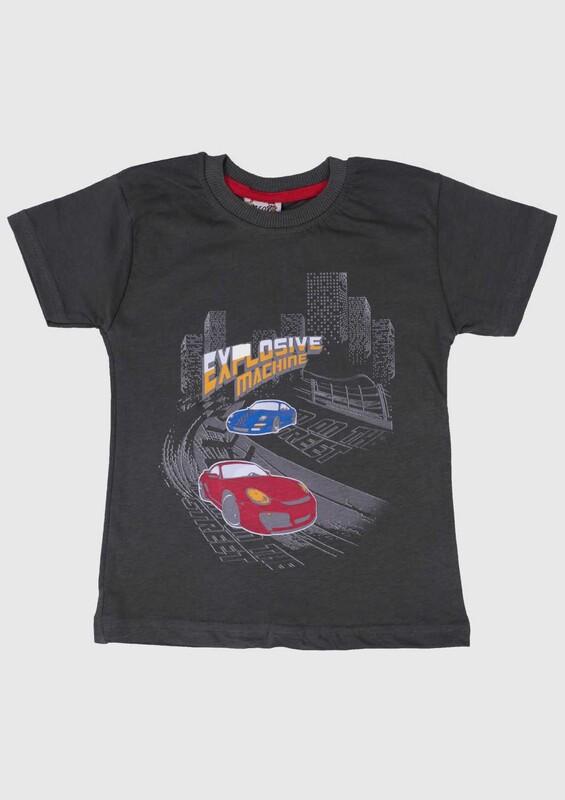 SİMİSSO - Baskılı Kısa Kollu Erkek Çocuk T-shirt 002   Haki