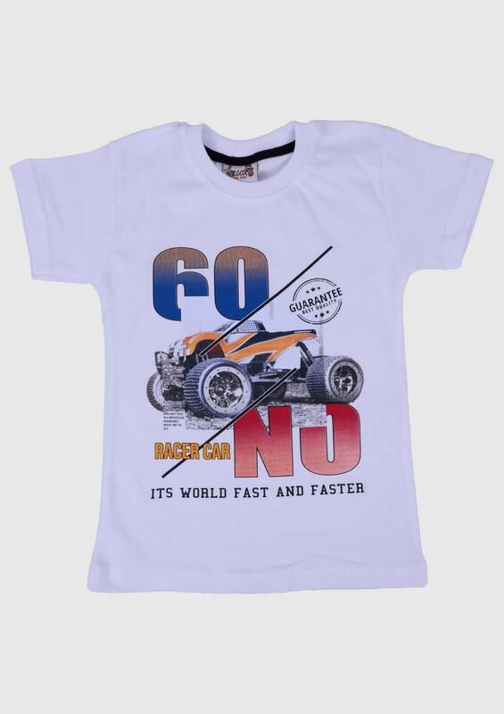 SİMİSSO - Baskılı Kısa Kollu Erkek Çocuk T-shirt 003   Beyaz