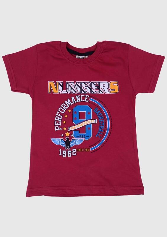 SİMİSSO - Baskılı Kısa Kollu Erkek Çocuk T-shirt 004   Bordo