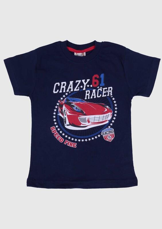 SİMİSSO - Baskılı Kısa Kollu Erkek Çocuk T-shirt 005   Lacivert