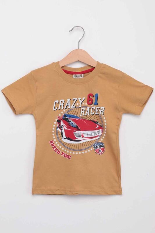 SİMİSSO - Baskılı Kısa Kollu Erkek Çocuk T-shirt 005 | Hardal