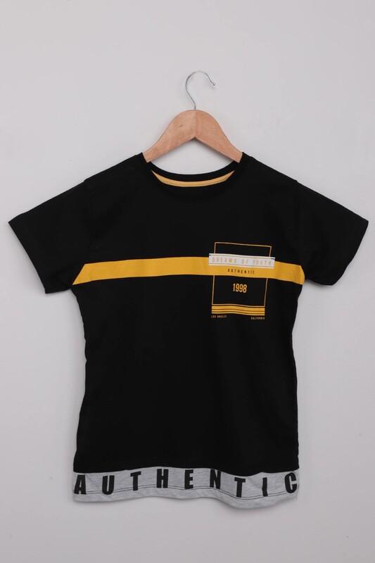 SİMİSSO - Yazı Baskılı Erkek Çocuk Tshirt   Siyah