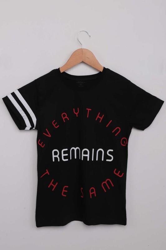 SİMİSSO - Yazı Baskılı Erkek Çocuk Tshirt 1370   Siyah
