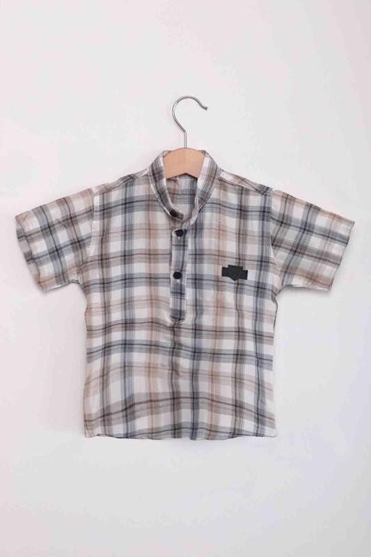 SİMİSSO - Ekose Erkek Çocuk Gömlek   Bej