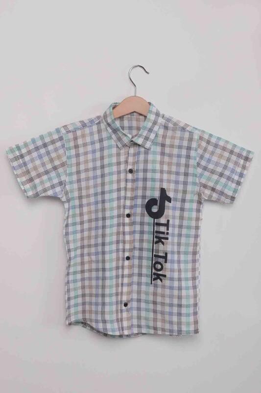 SİMİSSO - Yazı Baskılı Çizgili Erkek Çocuk Gömlek   Mavi
