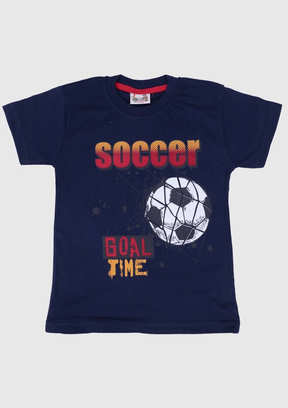 WALOX - Baskılı Kısa Kollu Erkek Çocuk T-shirt 007   Lacivert