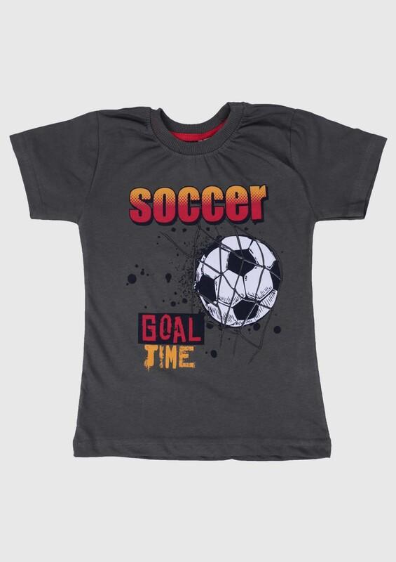 WALOX - Baskılı Kısa Kollu Erkek Çocuk T-shirt 007   Haki