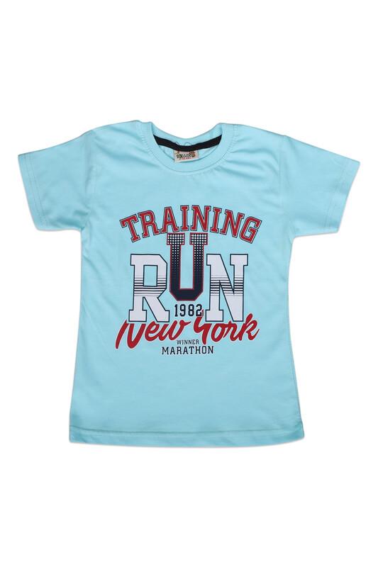 WALOX - Baskılı Kısa Kollu Erkek Çocuk T-shirt 006   Turkuaz