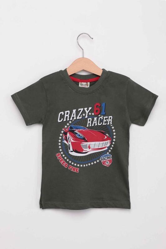 WALOX - Baskılı Kısa Kollu Erkek Çocuk T-shirt 005   Haki