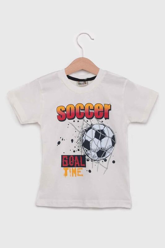 WALOX - Baskılı Kısa Kollu Erkek Çocuk T-shirt 007   Krem