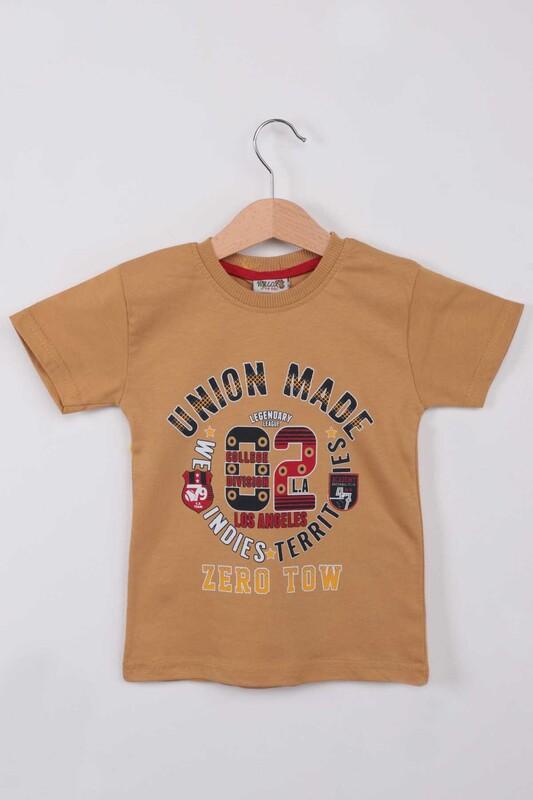 WALOX - Baskılı Kısa Kollu Erkek Çocuk T-shirt | Hardal