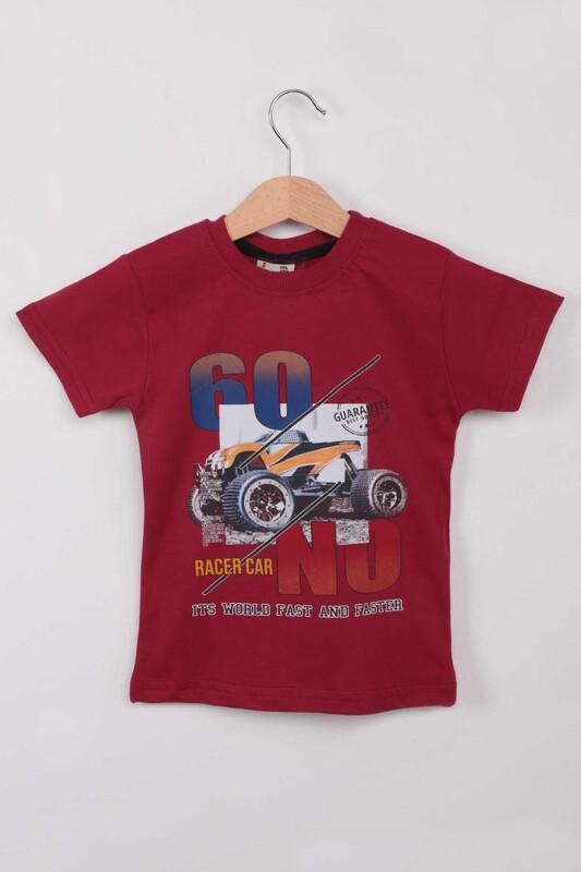 WALOX - Baskılı Kısa Kollu Erkek Çocuk T-shirt 003 | Bordo