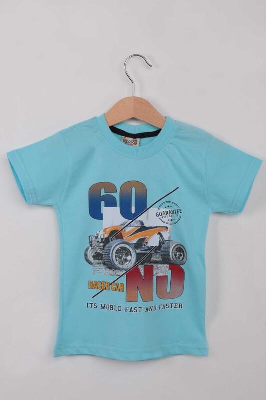 WALOX - Baskılı Kısa Kollu Erkek Çocuk T-shirt 003   Mint