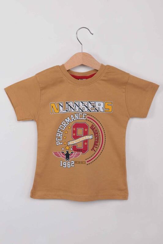 WALOX - Baskılı Kısa Kollu Erkek Çocuk T-shirt 004 | Hardal