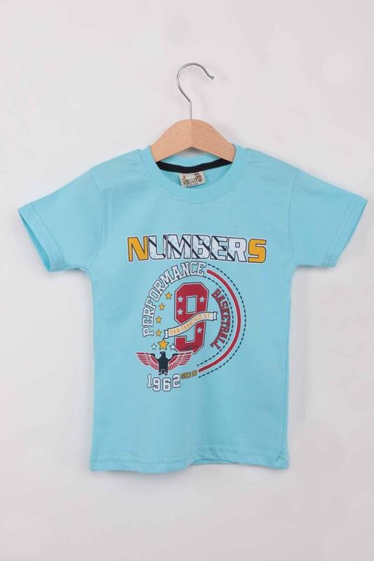 WALOX - Baskılı Kısa Kollu Erkek Çocuk T-shirt 004 | Mint