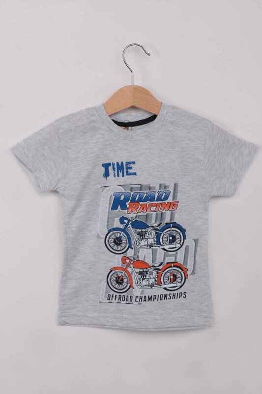 WALOX - Baskılı Kısa Kollu Erkek Çocuk T-shirt 008 | Gri